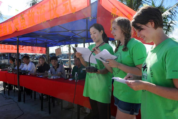 Interns present sea turtle conservation speech