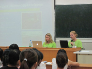 Interns lecturing at Hainan University on sea turtle conservation