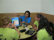 Staff lecturing to interns on sea turtle biology
