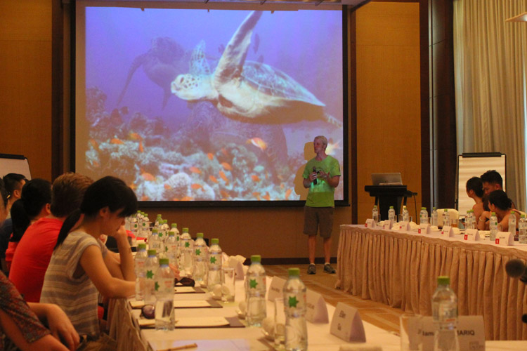 Sea turtle presentation at hotel conference meeting
