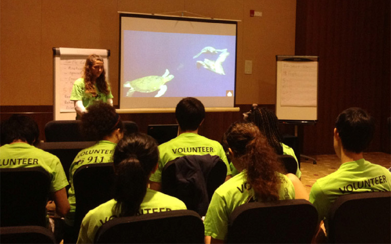 Student interns being trained as volunteers
