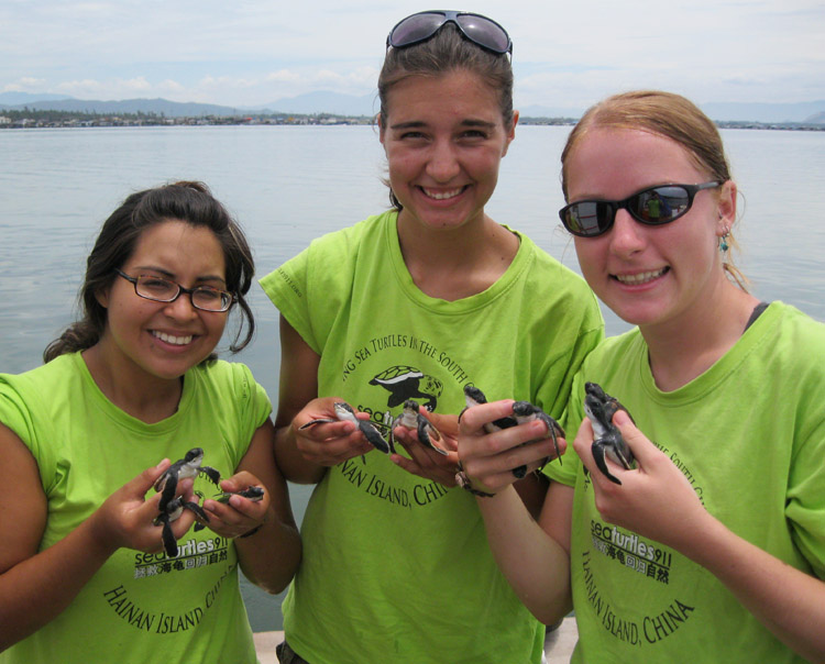 Students with handful of sea turtle hatchlings