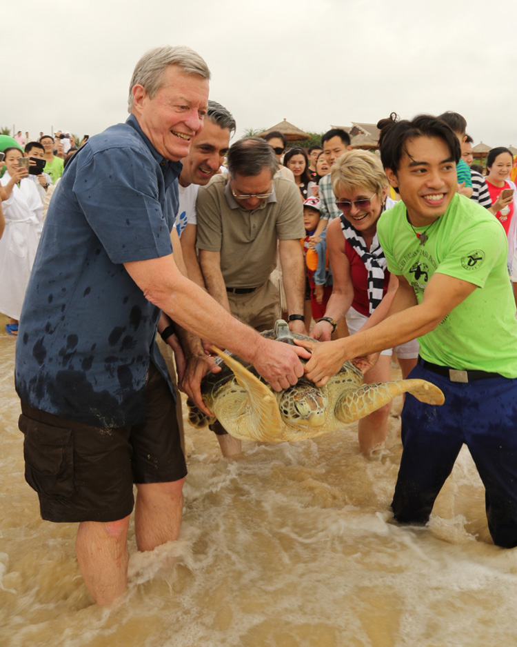 U.S. Ambassador and Senator Max Baucus volunteers for sea turtle conservation
